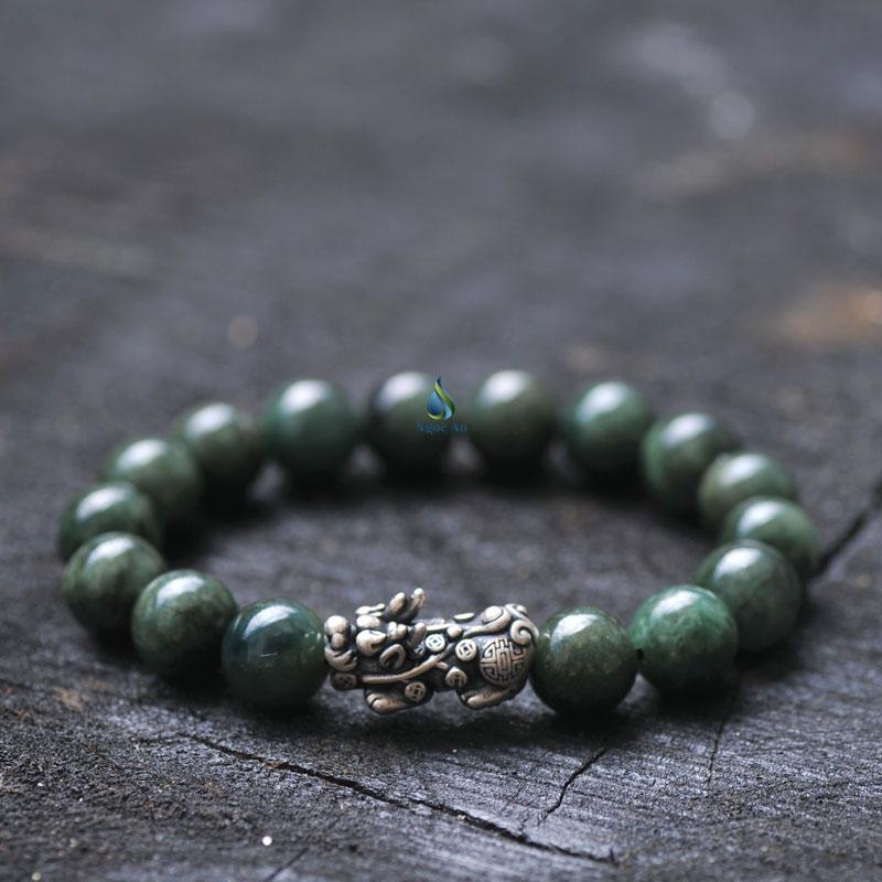 Vòng tay đá Jade A xanh đậm tỳ hưu bạc kích thước hạt 10ly