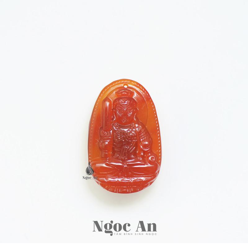 Phật bản mệnh Bất Động Minh Vương đá mã não (Mệnh Thổ - Mệnh Hỏa)