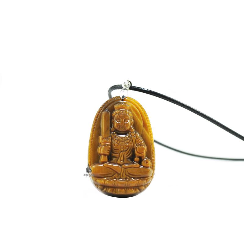 Phật bản mệnh Bất động minh vương đá mắt hổ vàng nâu
