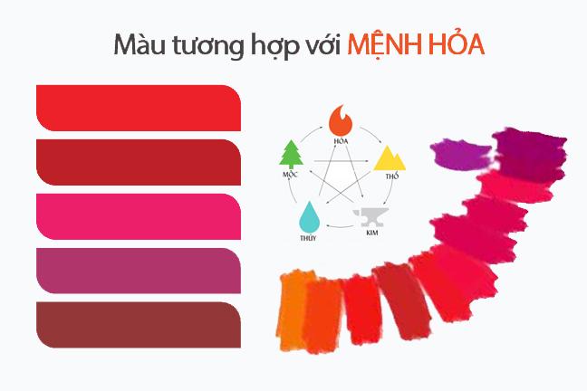 Bảng màu chọn đeo đá hợp mệnh hỏa