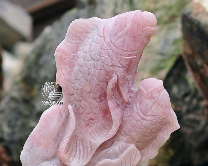 tượng song ngư thạch anh hồng