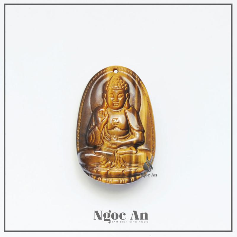 Phật bản mệnh a di đà đá mắt hổ vàng nâu