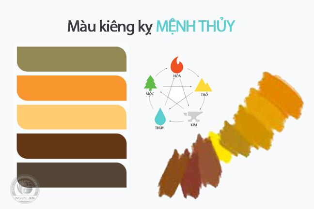 Bảng màu sắc đá thuộc thổ người Mệnh Thủy tuyệt đối không nên sử dụng