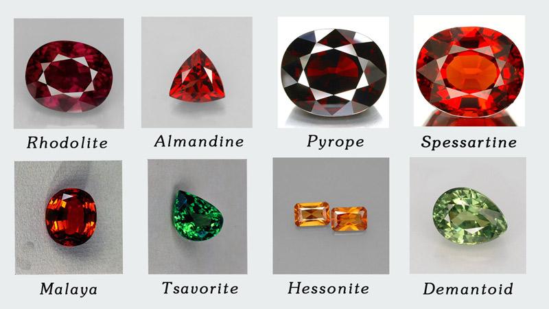 Một số màu sắc và tên gọi các loại đá thuộc dòng Garnet